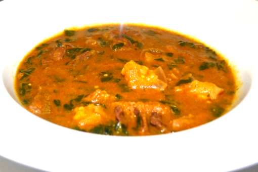 ogbono soup, assorted meats