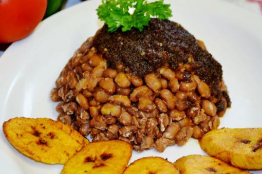 black eye beans, pepper stew, fried plantain
