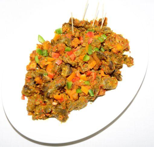 chicken gizzard, dodo plantain, spicy sauce