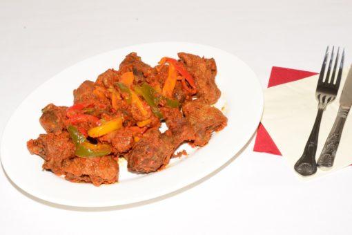 fried chicken, spicy tomato stew