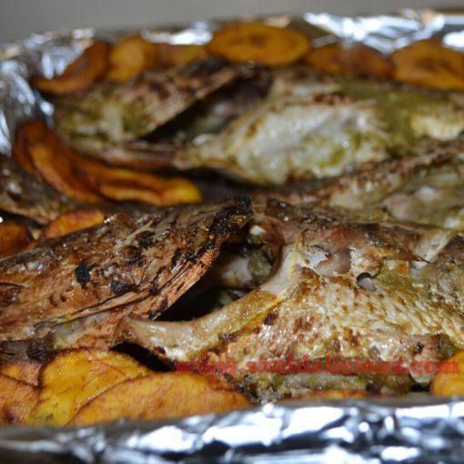 grilled monika fish, hot pepper sauce