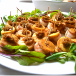 Fried plantain, king prawn cananpes