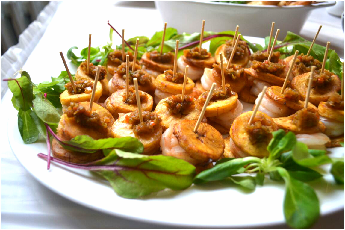 Fried plantain and King prawn Canapes
